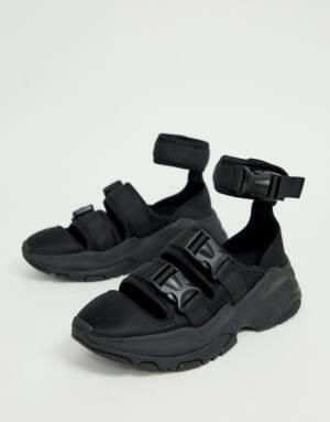 ASOS DESIGN - Sandalen in zwart met dikke zool