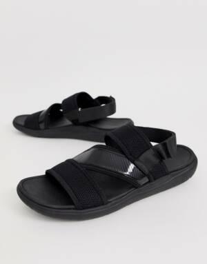 ASOS DESIGN - Sportieve sandalen van gemengde materialen-Zwart
