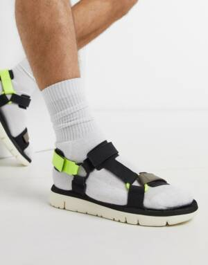 Camper - Sandalen in zwart met neon afwerking