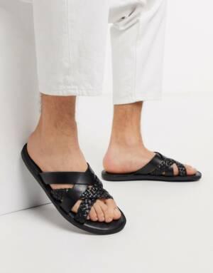 Dune - Leren sandalen met geweven band-Zwart