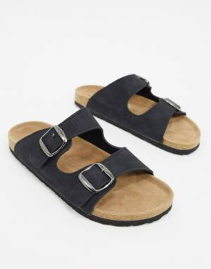 Dunlop - Sandalen in zwart met gesp