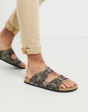 Dunlop - Sandalen met camouflageprint en gesp-Multi