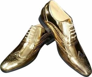 Gouden brogues/disco schoenen voor heren 47