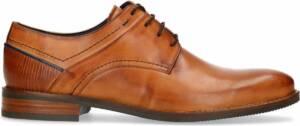 Manfield - Heren - Cognac leren veterschoenen - Maat 46