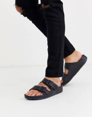 Slydes - Heren - Sandalen met dikke zool in marineblauw