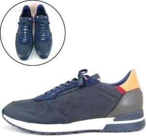 Stravers - Maat 50 Luxe Leren Sneakers Heren Blauw Grote Maten