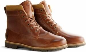 Travelin Esbjerg Heren - Veterboots - schoenen - sneakers - Vibram zool - Cognac Leer - Maat 48