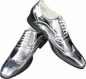 Zilveren brogues/disco schoenen voor heren 47
