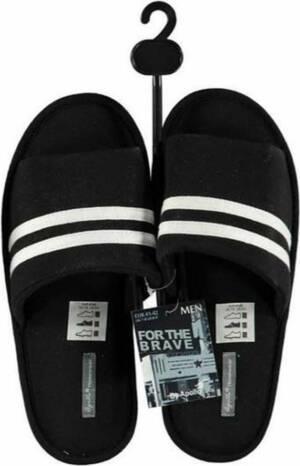Zwarte huisslippers/instapsloffen/pantoffels witte streep voor heren - Zwarte slippers voor heren 45-46