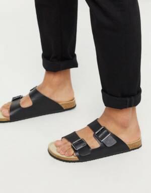 ASOS DESIGN - Sandalen in zwart met gesp