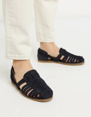 ASOS DESIGN - Geweven sandalen van suède in marineblauw-Kiezelkleurig