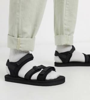 ASOS DESIGN - Tech sandalen in zwart met gebiesde banden en brede pasvorm
