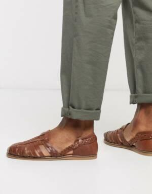 ASOS DESIGN - Geweven sandalen van lichtbruin leer