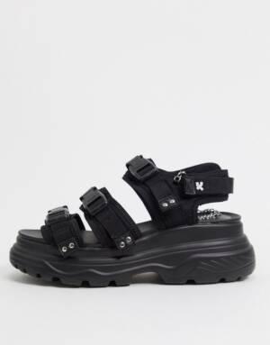 Koi Footwear - Sandalen met brede gesp en bandjes in zwart