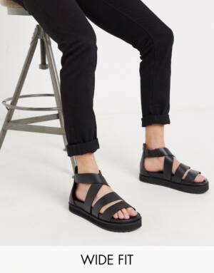 ASOS DESIGN - Gladiator sandalen met brede pasvorm en dikke zool van zwart leer