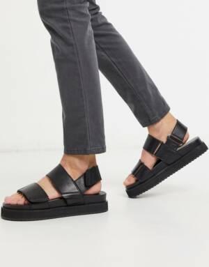 ASOS DESIGN - Leren sandalen in zwart