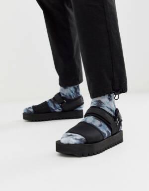 ASOS DESIGN - Sandalen in zwart met dikke zool en tech-bandjes