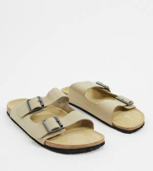ASOS DESIGN - Sandalen met brede pasvorm in kiezelkleur-Kiezelkleurig