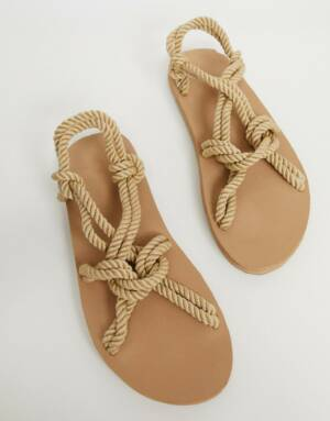 ASOS DESIGN - Sandalen van natuurlijk touw-Kiezelkleurig