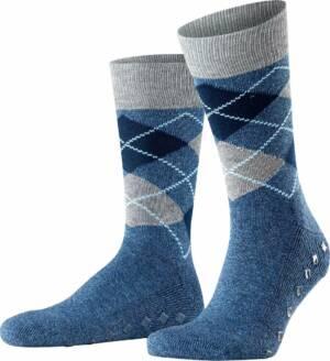 Burlington Argyle Heren Huissokken - blauw geruit - Maat 40-46