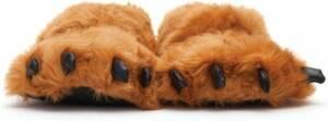 Dierenpoot pantoffels/sloffen beer voor volwassenen bruin 45/47