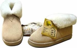 Lederen huisschoen Pantoffel dames en heren gevoerd met lamswol maat 46 kleur beige en naturel binnenkant