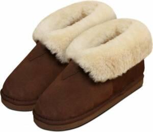 Lederen huisschoen Pantoffel dames en heren gevoerd met lamswol maat 46 kleur bruin en naturel binnenkant