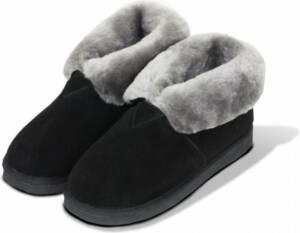 Lederen huisschoen Pantoffel dames en heren gevoerd met lamswol maat 46 kleur zwart en grijze binnenkant