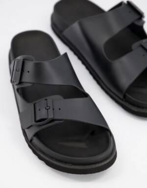ASOS DESIGN - Sandalen van zwart rubber met gesp