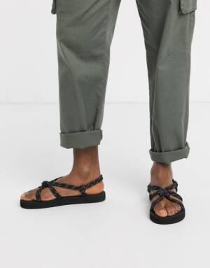 ASOS DESIGN - Tech - Sandalen met veters in zwart