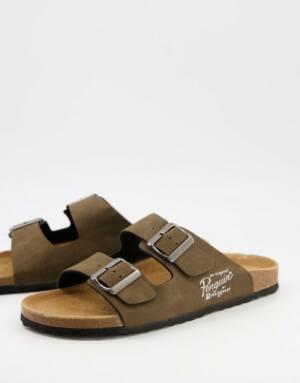 Original Penguin - Sandalen met gespen en voetbed in bruin
