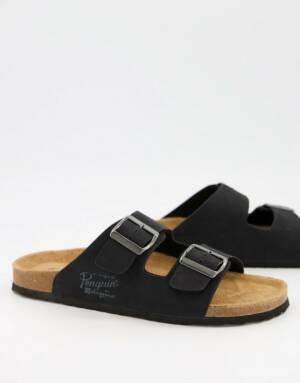 Original Penguin - Sandalen met gespen en voorgevormd voetbed in zwart