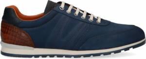 Van Lier - Heren - Blauwe nubuck sneakers met croco detail - Maat 47