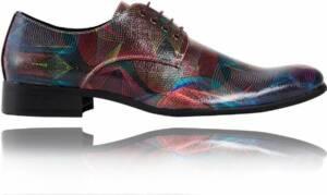 Abstract Red - Maat 48 - Lureaux - Kleurrijke Schoenen Voor Heren - Veterschoenen Met Print
