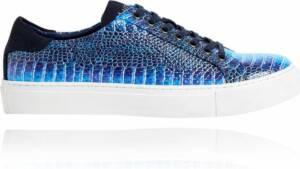 Blue Dino Sneakers - Maat 48 - Lureaux - Kleurrijke Sneakers - Sneakers Met Print - Unisex - Lureaux - Kleurrijke Schoenen Voor Heren - Veterschoenen Met Print