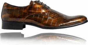 Bronzer Croco - Maat 48 - Lureaux - Kleurrijke Schoenen Voor Heren - Veterschoenen Met Print