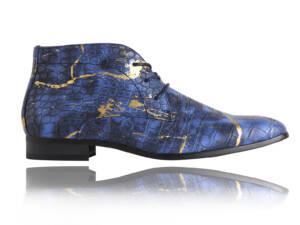 Croco Blue Gold - Lureaux - Handgemaakte Nette Schoenen Voor Heren