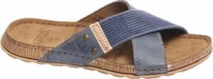 Venice Heren Blauwe slipper leren voetbed - Maat 46