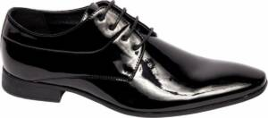 Venice Heren Zwarte geklede lak veterschoen - Maat 46