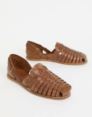 ASOS DESIGN - Geweven sandalen van bruin leer