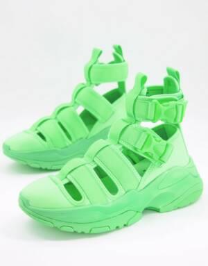ASOS DESIGN - Sneaker sandalen met dikke zool in neongroen