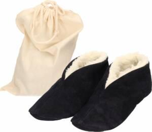 Navy blauwe Spaanse sloffen/pantoffels van echt leer/suede maat 46 met handige opbergzak - Voor dames/heren